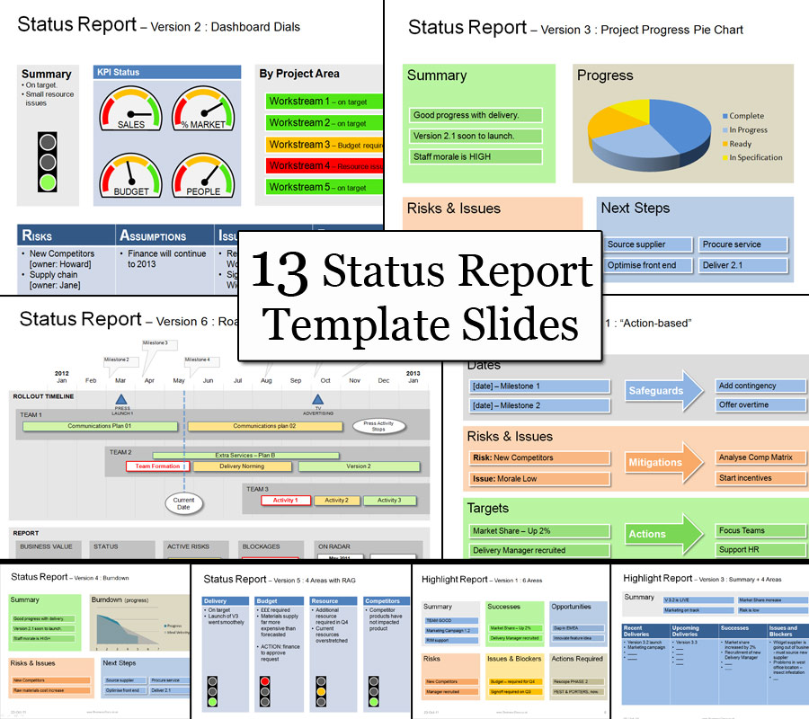 The Powerpoint Project Status Template has 13 Status Templates to help you with all Project Status Update reports