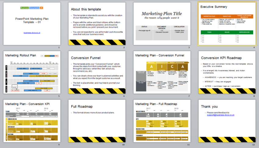 powerpoint marketing plan template  conversion funnel, Powerpoint